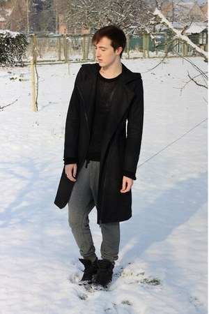 dark gray H&M DRAGON TATTOO coat - dark gray Topman boots - black asos sweater