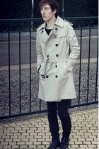 eggshell no brand coat - black H&M boots - black Diesel jeans
