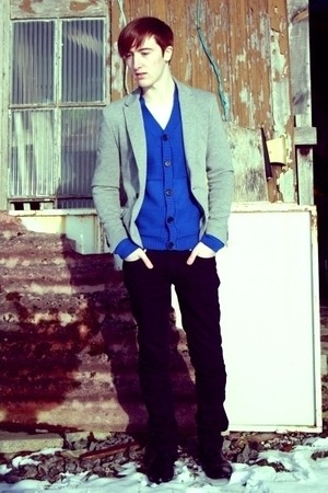 silver Zara blazer - blue H&amp;M cardigan - black Zara pants - black Zara boots