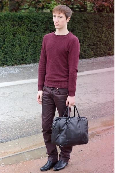 black Zara bag - black H&M boots - crimson Zara jeans - crimson H&M jumper