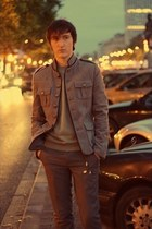 heather gray asos jacket - army green Topman sweater - gray Topman pants