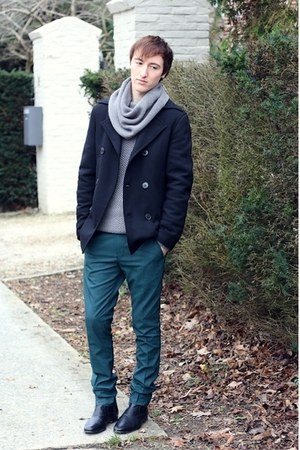 green asos pants - black H&M boots - navy we coat - silver asos jumper