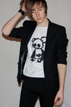 black H&M blazer - black Diesel jeans - white Panda Kunst t-shirt