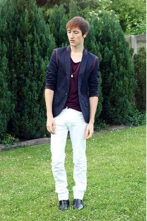 navy Topman blazer - black H&amp;M boots - white Zara jeans - magenta Zara t-shirt