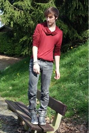 silver Topman boots - silver Zara jeans - ruby red Topman sweater