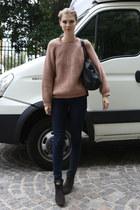 black Mango bag - charcoal gray Zara boots - navy Zara jeans
