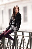 charcoal gray Calzedonia boots - black Zara jacket - crimson Calzedonia tights