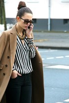 light brown Zara coat - white Zara shirt - black pull&bear pants