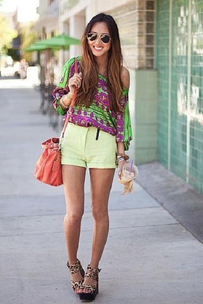 amethyst Bershka blouse - salmon Mango bag - light yellow Zara shorts