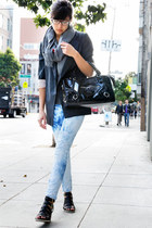 black Mango bag - light blue Stradivarius jeans - gray Zara blazer