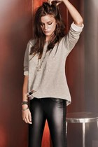 heather gray Calzedonia sweater - black Zara leggings - Accessorize bracelet