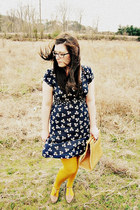 navy dress - mustard stockings