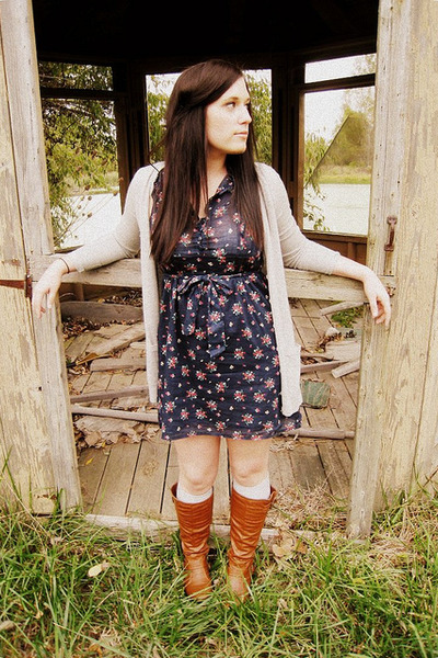 blue Forever 21 dress - gray martin and osa cardigan - brown Ruche boots
