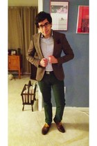 dark brown Asos tweed jacket - navy asos shirt - blue J Crew socks