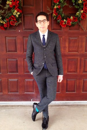 navy donegal tweed Topman suit