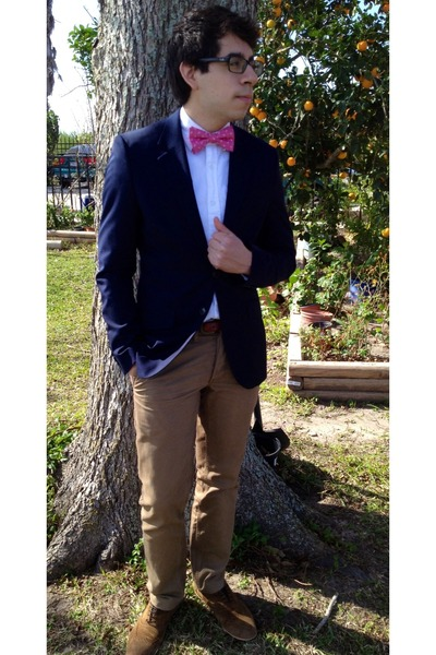 bronze Rolando Sturlini shoes - navy H&M blazer - hot pink Express tie