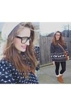 moa accessories - pull n bear boots - vintage sweater - Bershka tights