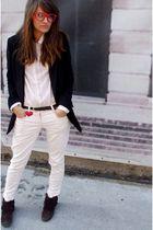 beige vintage shirt - pink Topshop pants - black Zara jacket - Stradivarius shoe