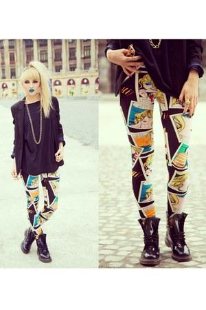 H&M blazer - Dr Martens boots - Y O U leggings - H&M accessories