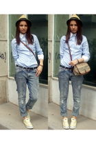 beige Pimkie accessories - black Esprit belt - Bershka jeans - blue Zara shirt -