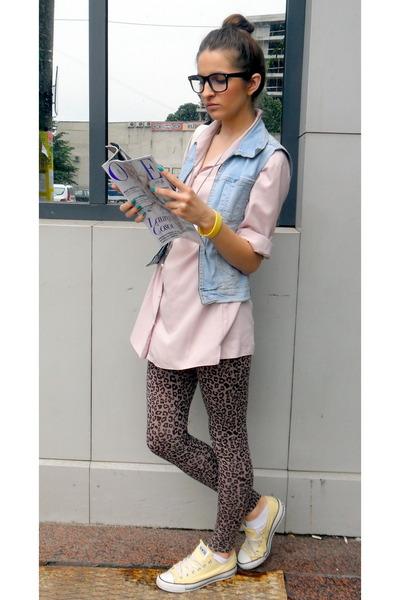 vintage vest - Converse shoes - New Yorker leggings - vintage shirt