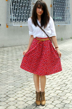 Bershka shirt - vintage skirt - Zara boots - vintage accessories