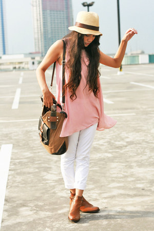 beige YRYS hat - tawny boots - light pink Forever 21 dress