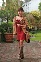 dark brown boots - brick red leaf & co FART dress - tan jacket - brown bag