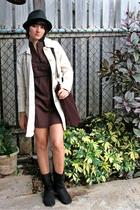 black PacSun hat - brown Marshalls dress - beige Gap coat - black Jcpenny boots