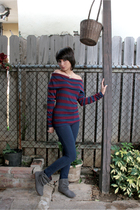 Forever 21 blouse - Forever 21 jeans - gray Zara boots