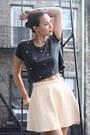 Beige-cream-leather-american-apparel-skirt