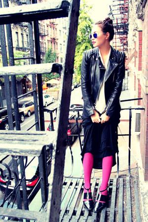 leather jacket Zara jacket - chiffon blouse Topshop blouse