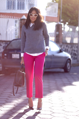 heather gray Zara sweater - hot pink Zara pants - black Zara pumps