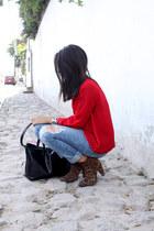 leopard print Zara boots - Bershka jeans - Zara bag - LOB blouse