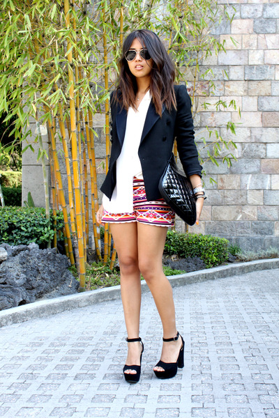 hot pink tribal tailored shorts - black Zara blazer - white thrifted blouse