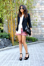 Black-zara-blazer-hot-pink-tribal-tailored-shorts-white-thrifted-blouse