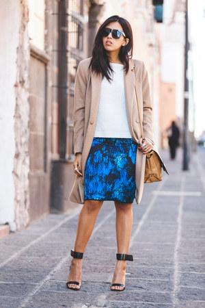 white Zara sweater - camel H&M coat - nude Zara bag - black Zara heels