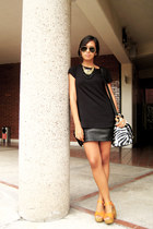 black Zara shirt - H&M bag - black LOB skirt - orange Bershka sandals