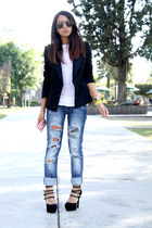 black Zara blazer - blue Bershka jeans - white Zara t-shirt