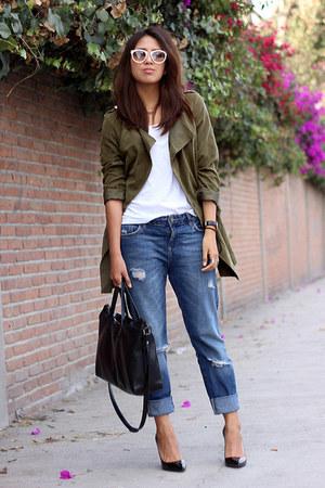 navy boyfriend jeans Zara jeans - army green PERSUNMALL jacket