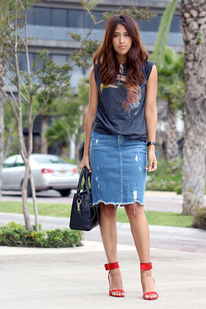 sky blue Zara skirt - black PERSUNMALL bag - red Zara heels