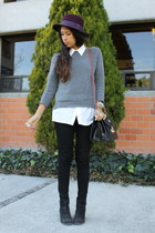 black Zara boots - magenta Zara hat - heather gray Zara sweater
