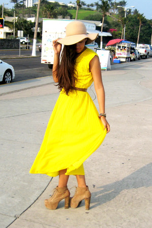 tan Jeffrey Campbell shoes - yellow vintage dress - tan Bershka hat