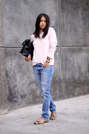 light pink Local store sweater - sky blue boyfriend jeans pull&bear jeans