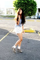 silver Zara shoes - Zara shirt - silver Zara shorts