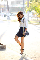 black PERSUNMALL bag - black Zara heels - navy PERSUNMALL skirt