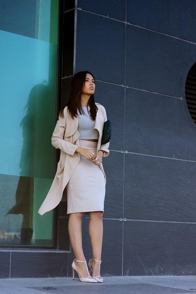 teal Zara bag - tan Sheinside coat - nude Zara heels