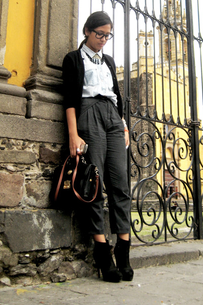 black vintage bag - black vintage sweater - gray Zara pants