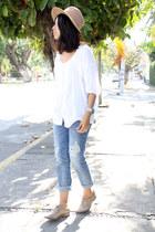 sky blue Bershka jeans - tan vintage hat - off white calvin klein blouse