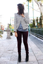 black Zara boots - crimson pull&bear jeans - striped Zara blazer